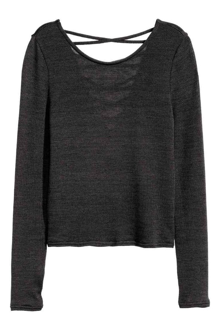 Fine-knit top: Fine-knit top in a marled viscose blend with a slight sheen, with…