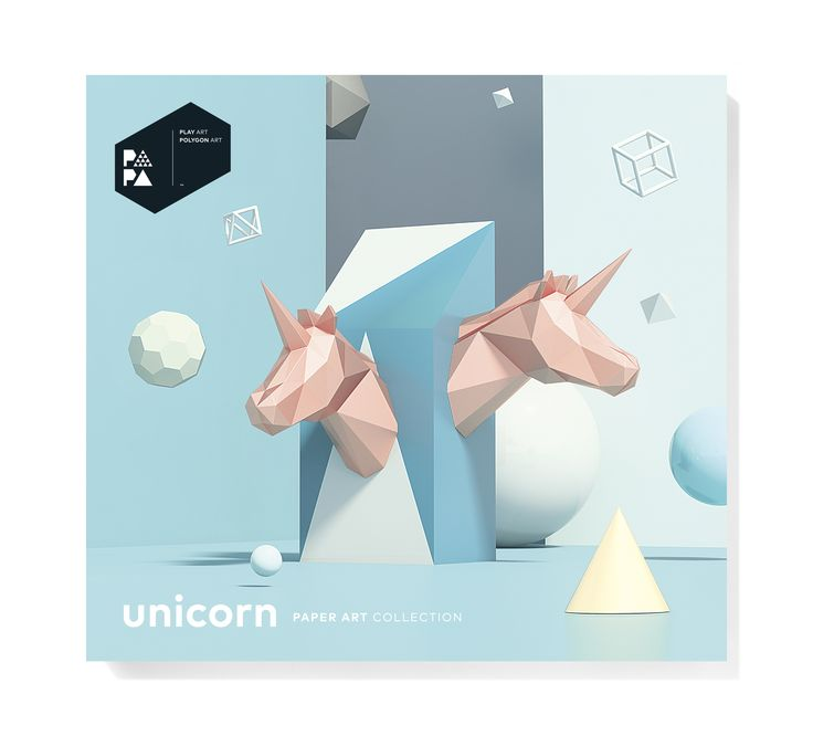 PAPA Unicorn Pink Package Front | Play Art. Polygon Art. Do Art Yourself.