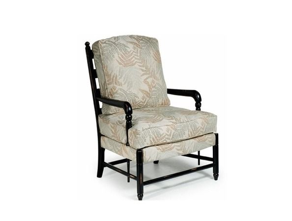 Jamie = The ladder back design has long been the cornerstone of Best Home Furnishings country styling. With the exposed wood arms that flow downward past the molded cushion and connect to exposed wood stretchers, you have a chair harkens to a handcrafted heirloom. The loose, blown back pillow and the semi-attached seat, which sits atop upholstered top rails, are both accented with cording and deliver a chair that is as comfortable as it is beautiful.