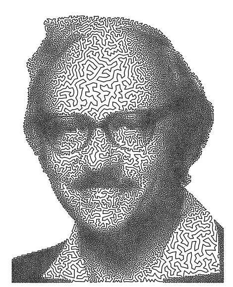 There is actually a name for this kind of art – it's called TSP Art, because it's constructed by solving instances of the classic computer science algorithmic problem called the Traveling Salesman Problem. The Travelling Salesman Problem describes a salesman who must travel between N cities. The order in which he does so is unimportant, provided he visits each one during his trip, and finishes in his starting location. The principal exponent of TSP art and one of the