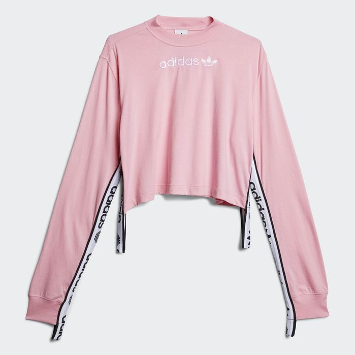 8e79fe52ae Tape Tee Pink Womens in 2019 | Products | Pink adidas sweatshirt ...