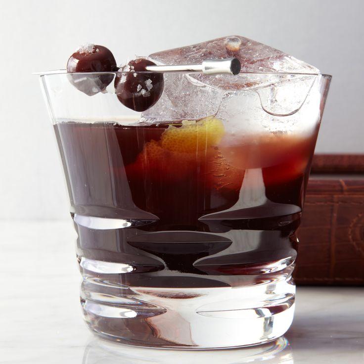 Kentucky Special: Lapsang souchong tea, Heering Cherry Liqueur, bourbon, bitters, brandied cherries
