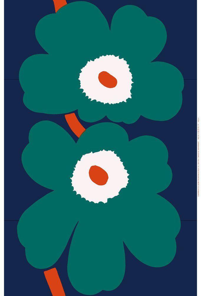Marimekko Marimekko Unikko 50th Anniversary Sateen Fabric Dark Blue/Green/Orange - KIITOSlife