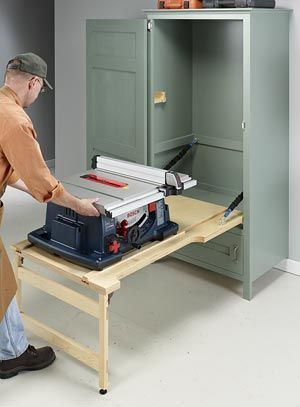 drop-down table saw cabinet........I would make it into a computer desk instead of a table saw cabinet.