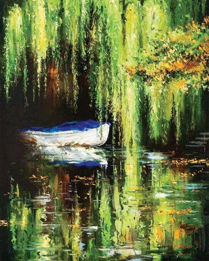 'Under the Willow' by Gleb Goloubetski Oil on Canvas 80cm x 100cm