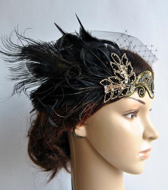 Black dress 1920s style bridal headpieces
