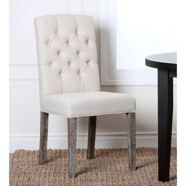 ABBYSON LIVING Colin Beige Linen Tufted Dining Chair, $163.