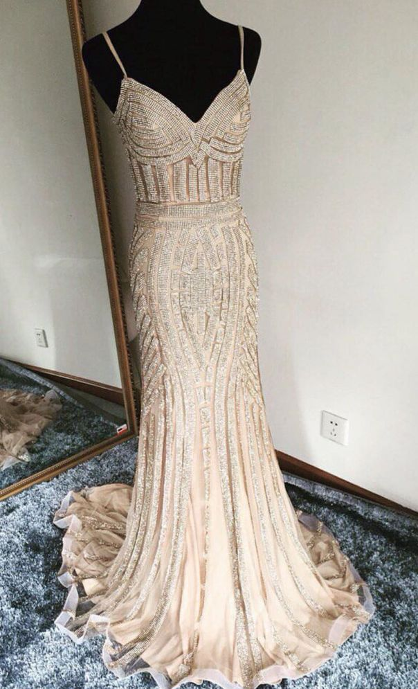 champagne prom dress,mermaid prom dress,mermaid evening dress,gold beading