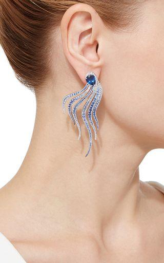 Mussulo, Diamod And Blue Sapphire Earrings by VANLELES  for Preorder on Moda Operandi
