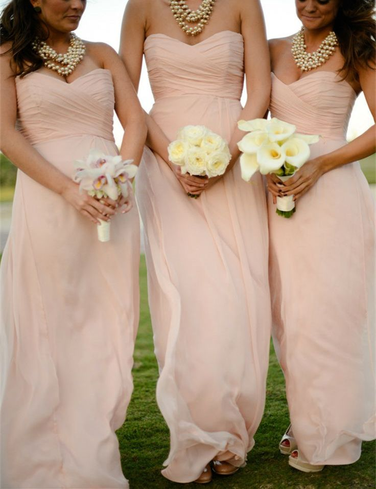 fall bridal party pictures%0A Find More Bridesmaid Dresses Information about      Light Pink Bridesmaid  Dress Strapless Sweetheart Neck Ruffles Chiffon