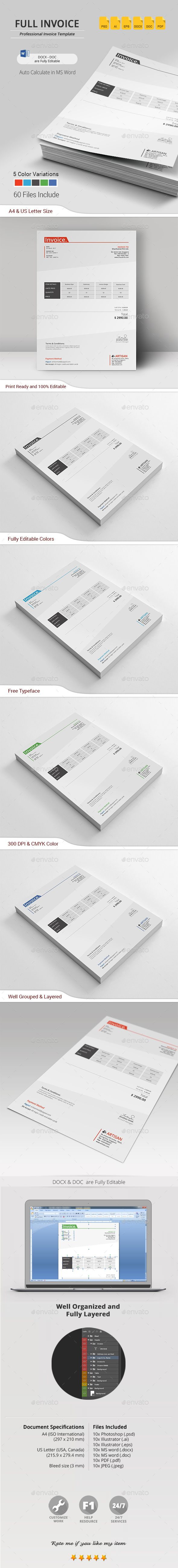 Buy Invoice by artisanHR on GraphicRiver Invoice
