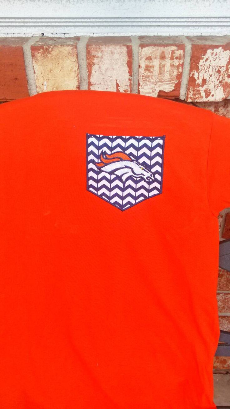 Denver Broncos Shirt for Gameday. Applique Pocket T-shirt. Custom NFL Shirt. Other Teams Available. Women NFL shirt or mens nfl shirt by PearlsAndBowtiesJax on Etsy https://www.etsy.com/listing/217368934/denver-broncos-shirt-for-gameday