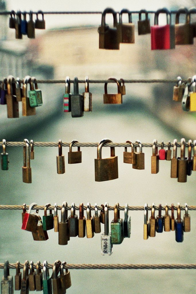 Wall of locks paris france