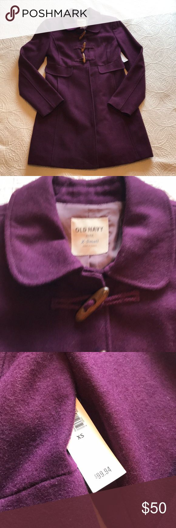 """NWT [old navy] Eggplant Wool Blend Toggle Coat XS NWT [old navy] Eggplant Wool Blend Toggle Button Coat XS 🔹So beautiful and warm!! 🔹underarm to underarm = 17"""" 🔹length center back neck to hem = 30.5"""" 🔹Lined 🔹toggle buttons too portion 🔹invisible snaps bottom portion ✅Offers Welcome w/Offer Button 🚫Trade 🚫PP 💰30%OffBundle 📦Ships1Day. Old Navy Jackets & Coats Pea Coats"""