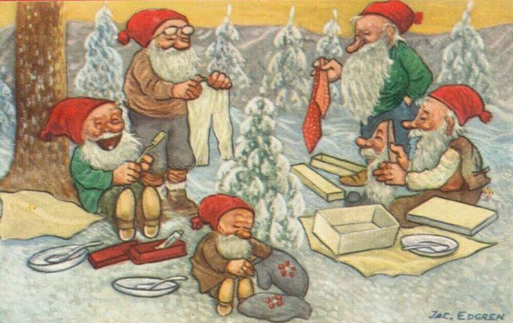 Julkort Jac Edgren 5 tomtar med julklappar