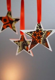 African Christmas Stars - but with random fabric scraps