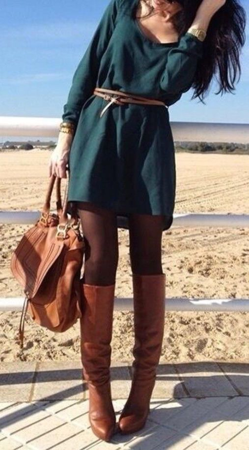 #street #style / green longsleeve dress + boots