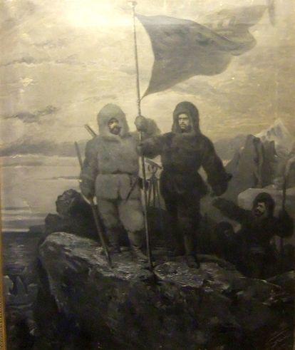 Carl Edler von Stur, 1874 Carl Weyprecht und Julius Payer hissen die Fahne auf Franz Josef Land