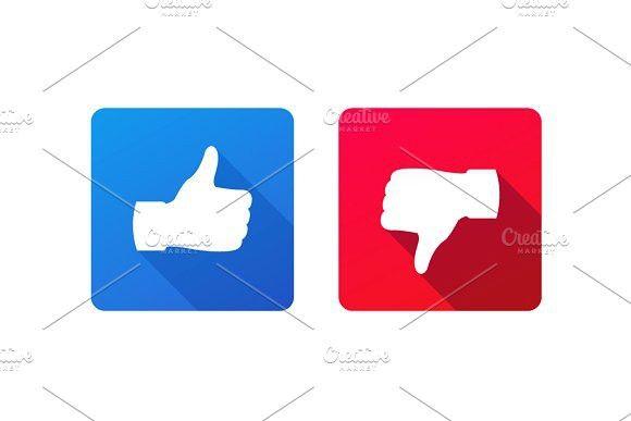 Thumb Up And Down Signs Vector Illustration Signs Long Shadow