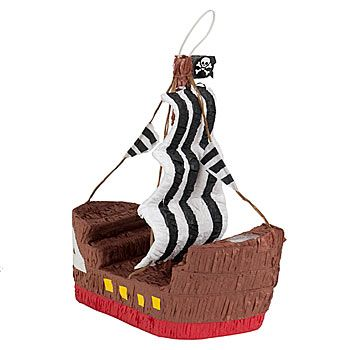 This Pirate Ship Pinata is brown with sails of black and white showcasing a skull and crossbones flag at the top.