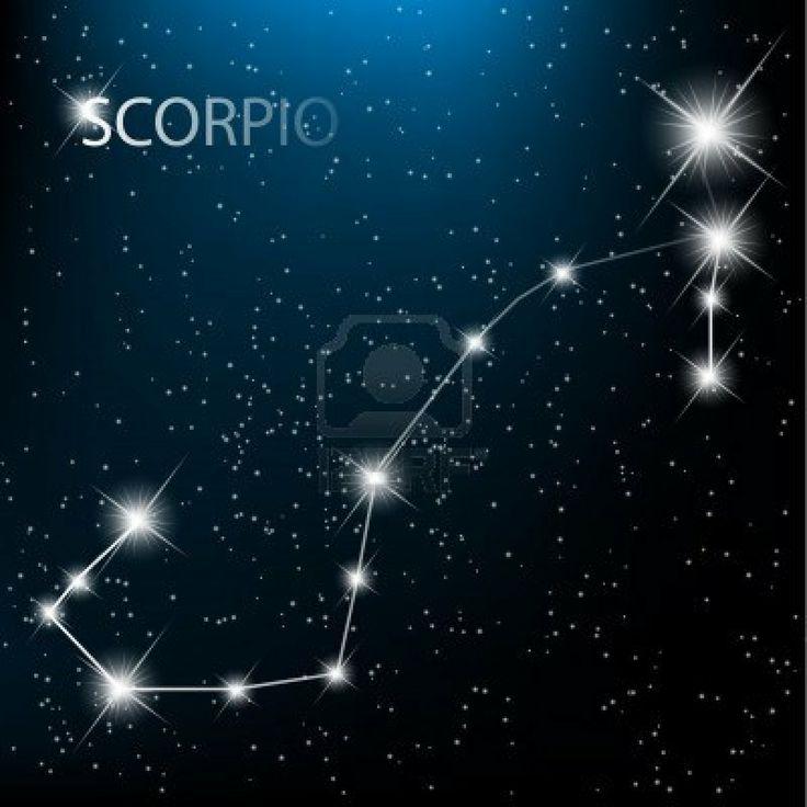 Scorpio vector Zodiac sign bright stars in cosmos.