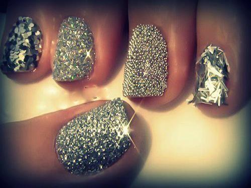 #nails #nailart #silver #studs