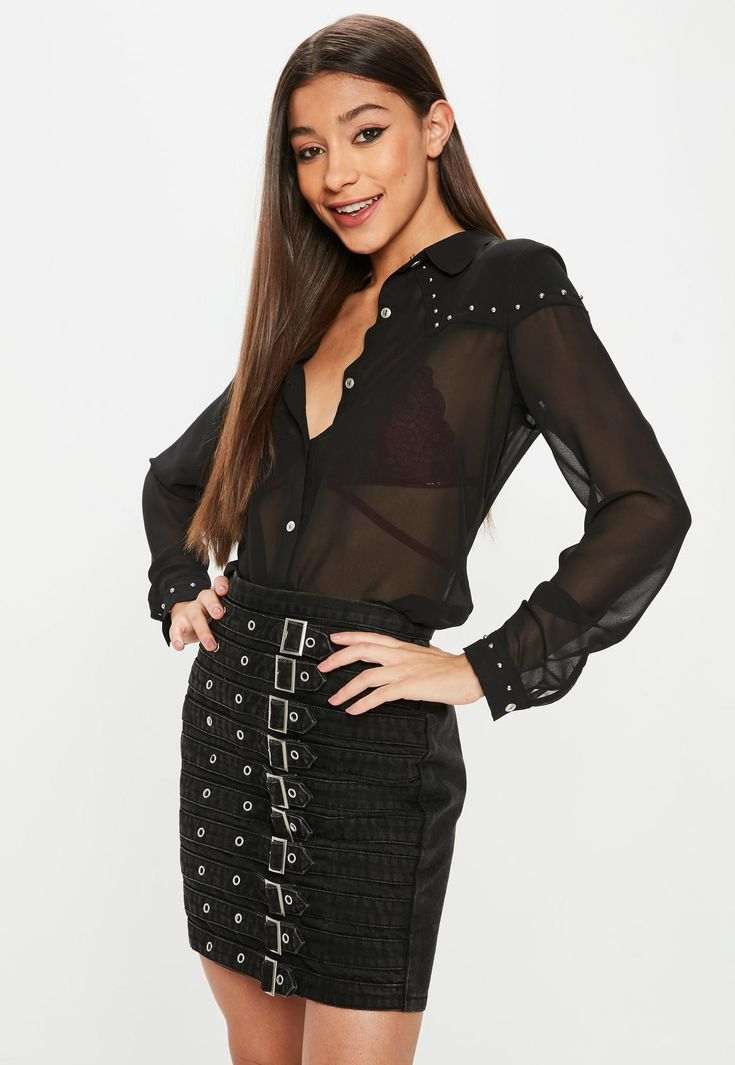 Missguided - Black Western Studded Shirt