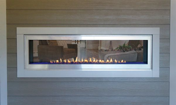 boulevard 60 vent free see through gas fireplace indoor to outdoor rh pinterest com