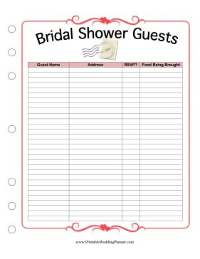 This printable bridal shower guest list provides spaces for Wedding shower gift list template