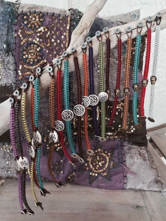 Summer Om - simple macrame bracelets with Oms or Buddhas for summer. $25