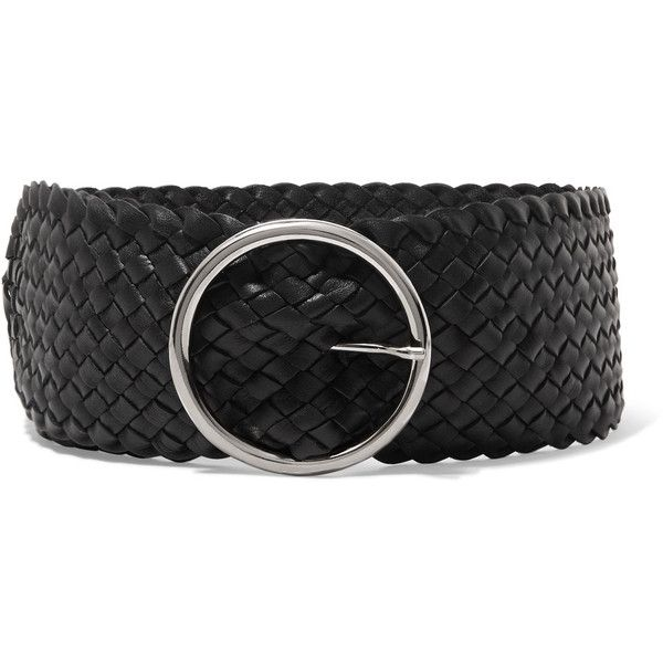 Anderson's Woven leather waist belt ($295) ❤ liked on Polyvore featuring accessories, belts, black, braided leather belt, 100 leather belt, genuine leather belt, woven leather belt and real leather belts