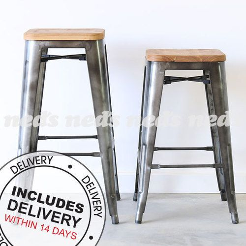 Xavier Stools with Wooden Seats Titanium - Set of 2