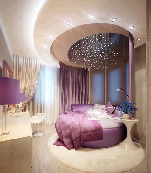 keep the harmony of the room in our interior designelegant bedroom interior design purple