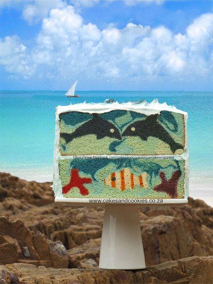 Life's A Beach (Inside My Cake) - by Terry @ CakesDecor.com - cake decorating website