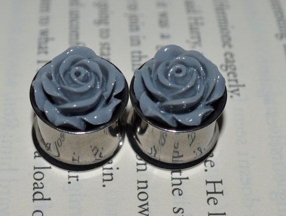 Gray Rose Flower Plugs sizes 2g6mm to 9/1614mm by PlugginUpFancy, $20.00