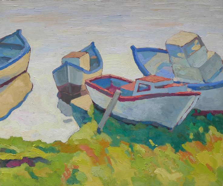 boats in Czernomoretz - 60x50cm - oil