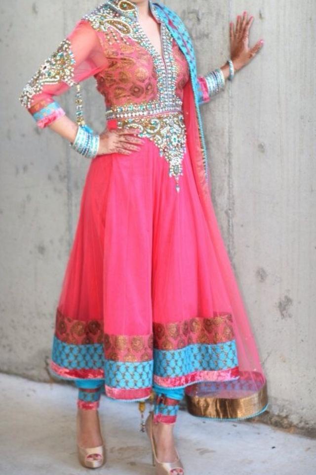 Pink and blue Salwar kameez