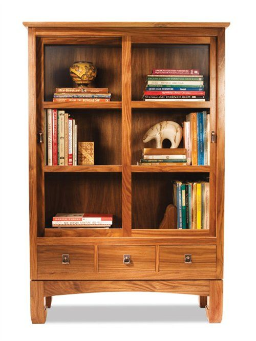 Sliding door bookcase woodworking projects american for Bookshelf chair plans