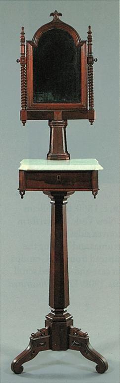 Victorian – Gothic Revival Shaving Stand. 1840-90 Major Woods - Black walnut, mahogany & rosewood.