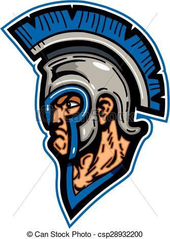 Vector - trojan mascot head - stock illustration, royalty ...