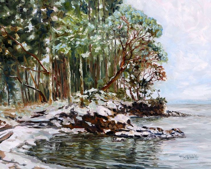 Oyster Bay Mayne Island BC with fresh snow by Terrill Welch. Sold.