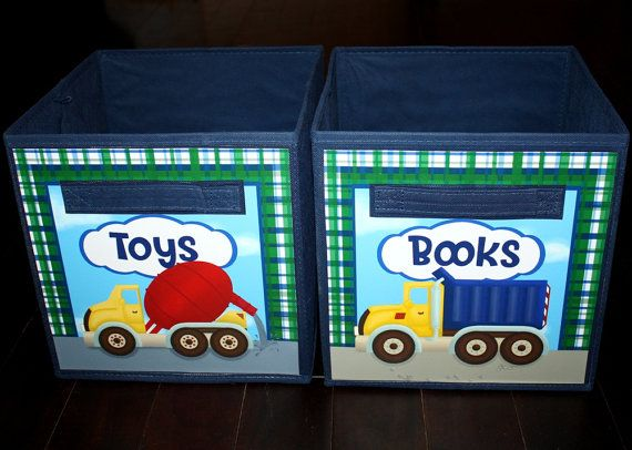 Set of 2 Boys Construction Trucks Fabric Bins Bedroom Baby Nursery Organizer for Toys or Clothing on Etsy, $36.00