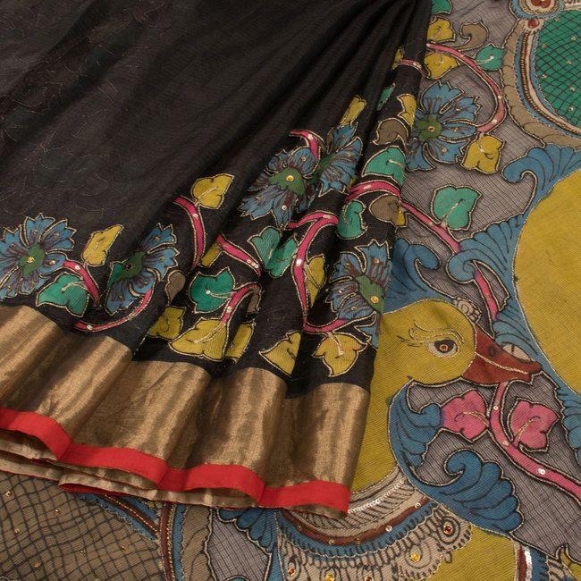 Buy online Hand Painted Black Pen Kalamkari Kota Silk Saree With Raising Border, Sequin Work & Peacock Motifs
