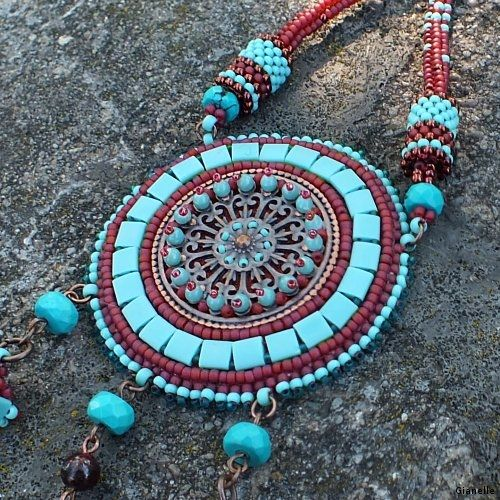 Bead embroidery - necklace with Tila beads and spikes