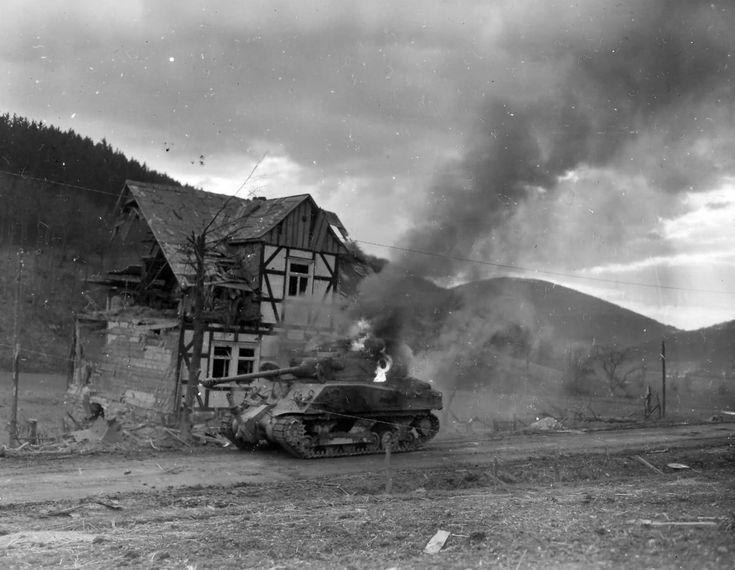 Burning M4 Sherman tank Oberkirchen Germany 1945