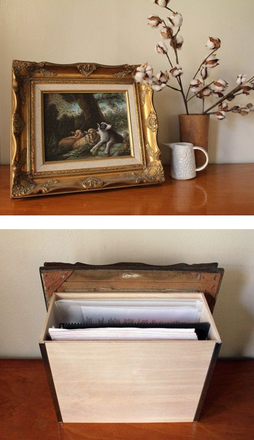 Framed picture with hidden storage box behind it.  Place it on a bookshelf.