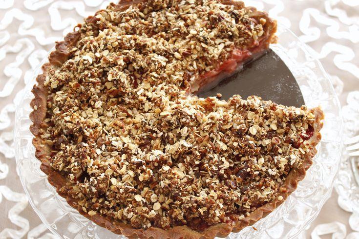 Aardbei-rabarber crumble taart 4-001
