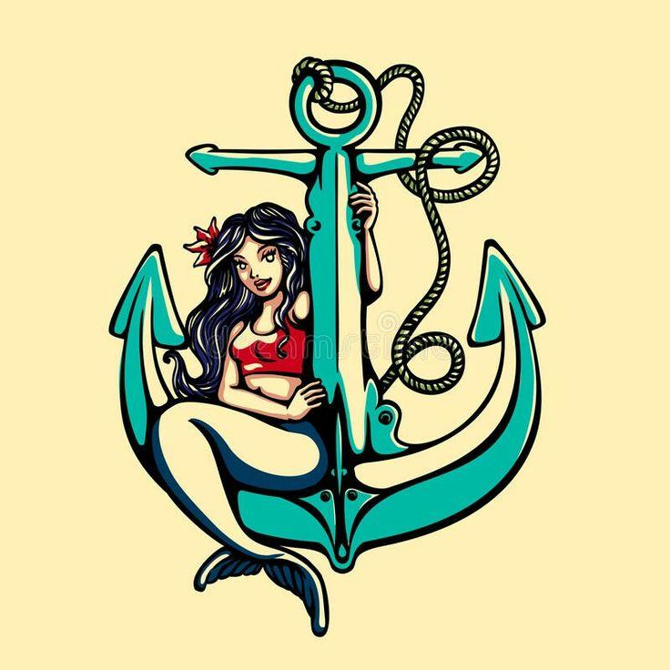 Lovely mermaid anchor tattoo