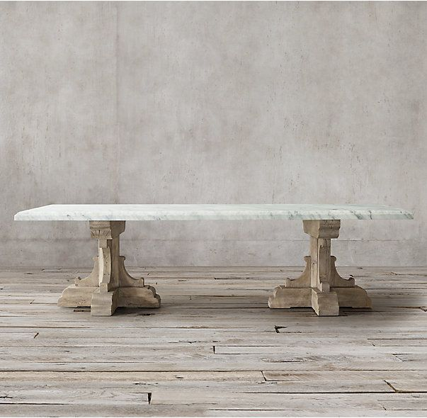 "RH's 17th C. French Bastide Oak & Marble Rectangular Dining Table:Evoking the grandeur of 17th-century French Baroque design, our handsome handcrafted dining table pairs a 2¼""-inch thick Carrara marble top with an ornate pedestal base."