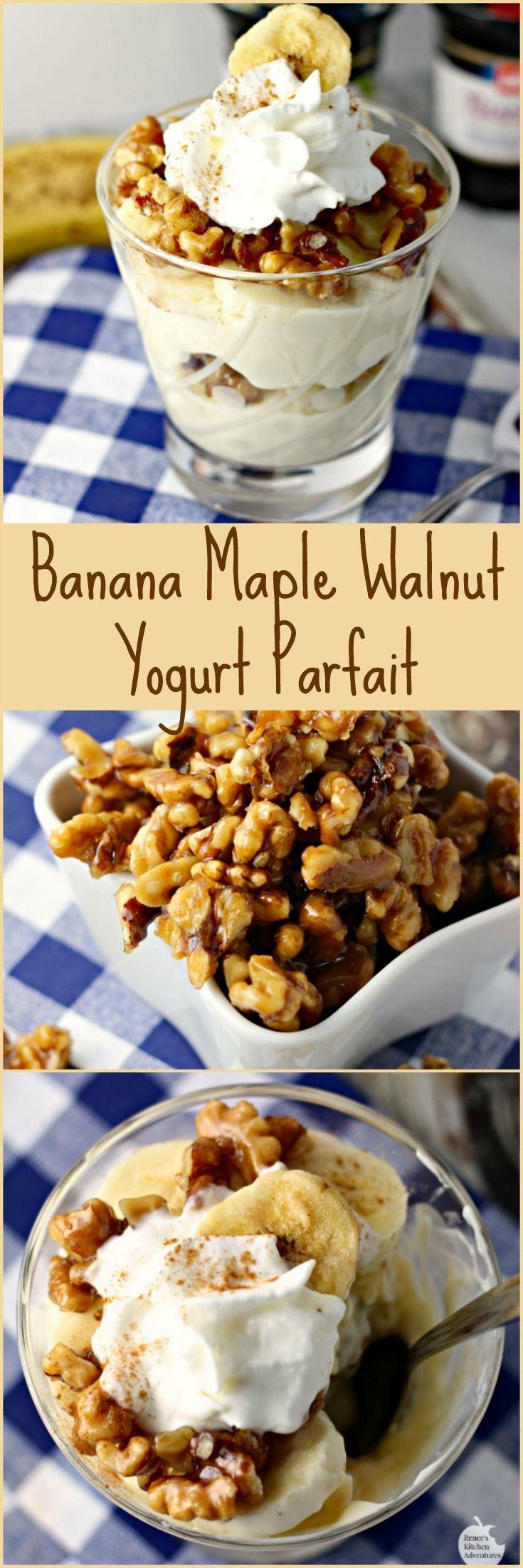 Banana Maple Walnut Yogurt Parfait | Kitchen Adventures:  Wholesome treat full of fresh bananas, vanilla bean yogurt and Maple Walnuts! #MullerMoment #ad